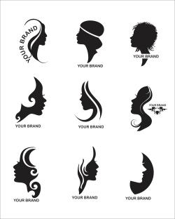 مجموعه وکتور لوگوی ارایشگاه زنانه